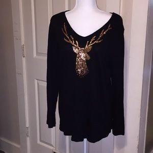 Quacker  Factory long sleeved Holiday blouse M